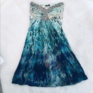 SKY NWT STRAPLESS DRESS WITH RHINESTONES